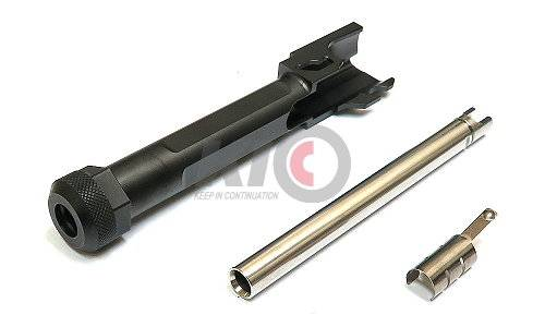 GunsModify SA Style Stainless Threaded (14mm-) Barrel Set for Marui G19 - Nitride Black