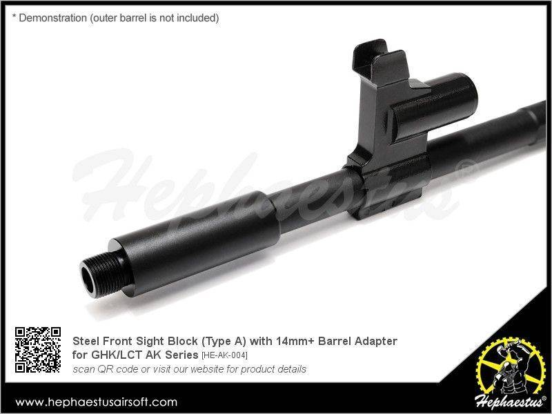 Hephaestus Steel Front Sight Block for GHK / LCT AK ( Type A / 14mm+ )