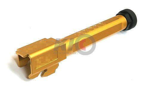 Bomber CNC Aluminum S-Style Match Grade Threaded Outer Barrel for TM G17 / 18 Series - Gold ( 14 mm + )