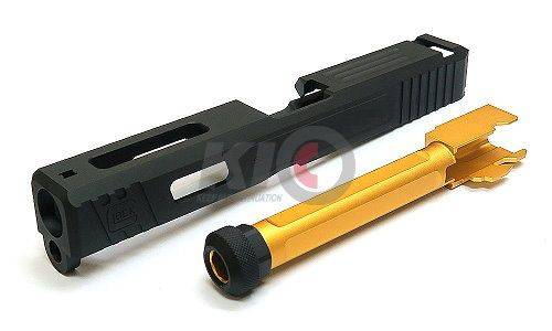 Bomber Aluminum S-Style Slide w/ Thread Outer Barrel for TM G17 Series - Gold ( 14 mm + )