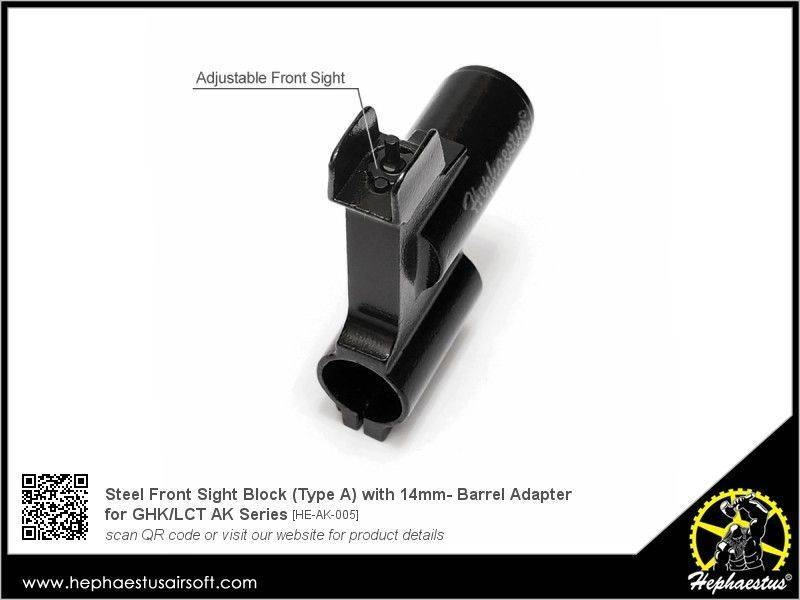 Hephaestus Steel Front Sight Block for GHK / LCT AK (Type A / 14mm-)
