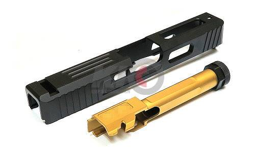 GunsModify SA Style Aluminum Slide w/ Stainless Threaded (14mm-) Fluted Barrel Set for Marui G19 ( Black / Gold )